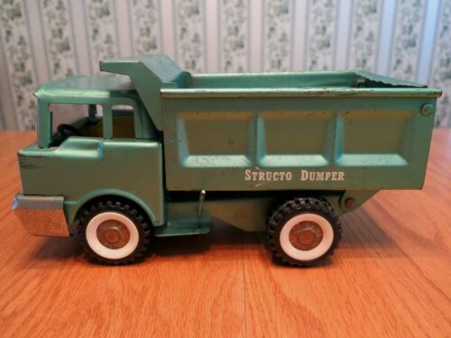 Structo Dumper Pressed Steel Dump Truck Green 1960s? Made in the USA