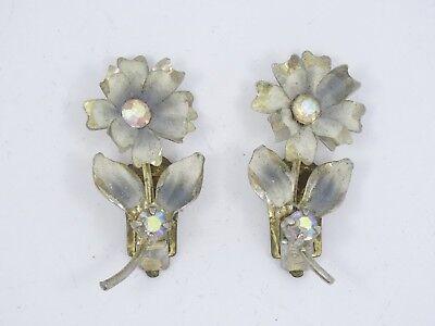 VINTAGE Signed AUSTRIA ENAMEL & AB CRYSTAL JEWELED FLOWER CLIP EARRINGS