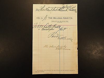 1891 The Billings Gazette Letterhead Invoice
