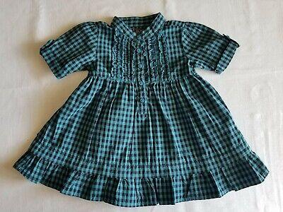 Children's Place Baby Girl Vintage Style Blue Black Gingham Dress Sz 12M EUC