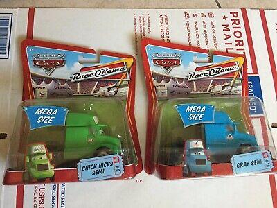 Disney Pixar CARS Lot Chick Hicks Semi & Gray Semi Dinoco Race O Rama Sealed New
