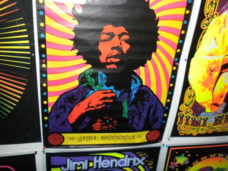 "Original vintage Jimi Hendrix blacklight poster 1970 21""x33"" tack holes"