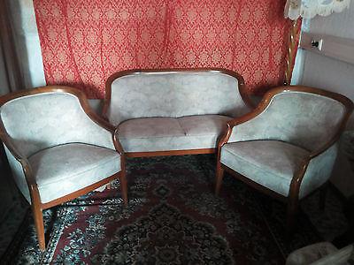 Sitzgruppe Sitzgarnitur Salon Möbel Sofa + 2 Sessel Antik