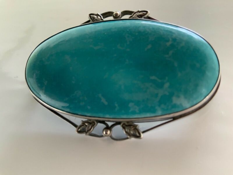 ANTIQUE ARTS CRAFTS RUSKIN BLUE CERAMIC STERLING SILVER BROOCH