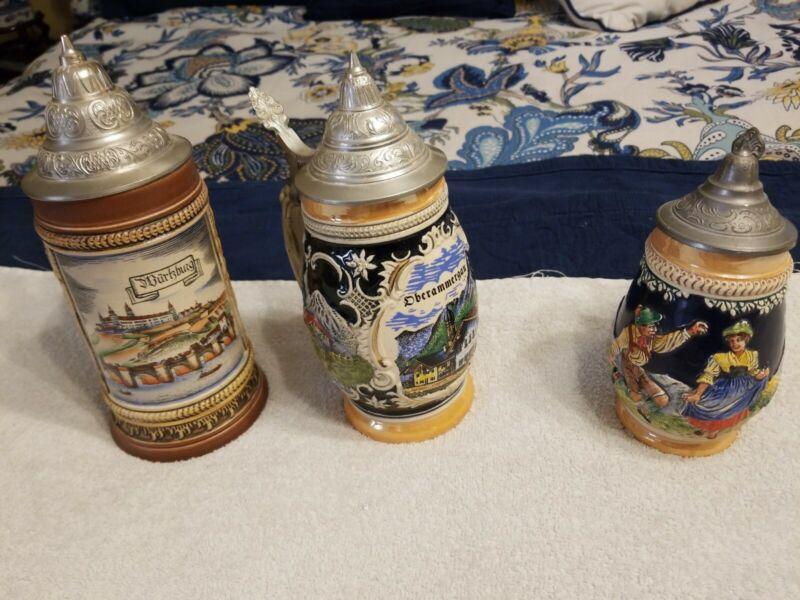 German Beer Stein Lot Of 3