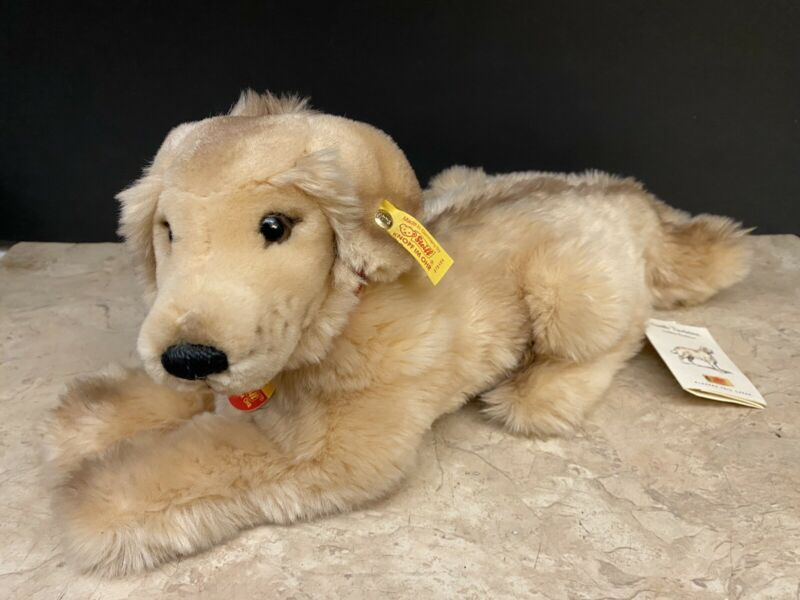 Steiff JUNIOR HEKTOR Fluffy Golden Retriever Dog Stuffed Animal Plush 078484