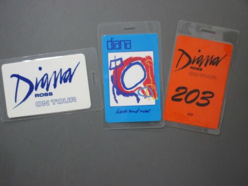 Diana Ross backstage passes 3 laminated AUTHENTIC Here & Now, On Tour !