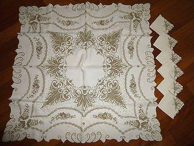 "Vintage MADEIRA Fine Linen Set Tablecloth 41""x 41"" & 6 Napkins"