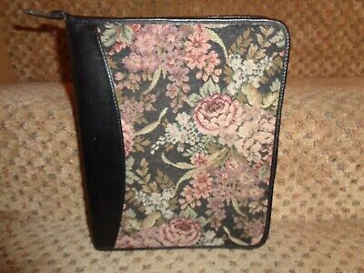 Franklin Quest Covey Usa Black Leather Floral Tapestry Classic Zipper Planner