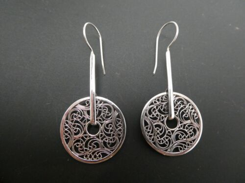 Vintage Sterling Silver Filigree Round Moveable Pierced  Dangle Disk Earrings