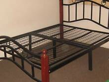 AS NEW DOUBLE BED FRAME TIMBER & BLACK STEEL COMPLETE Cobbitty Camden Area Preview