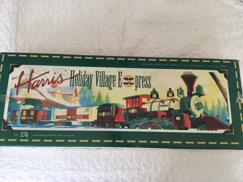Harris' Holiday Village Express Train Set Christmas Used Once Have Box Complete