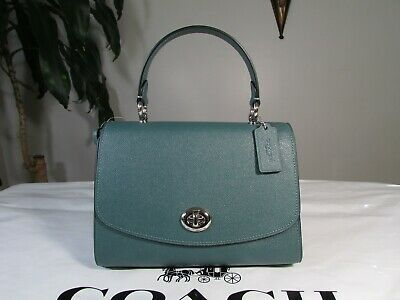 NWT Coach Crossgrain Leather Tilly Top Handle Satchel Handbag 76618 Dark Turquoi