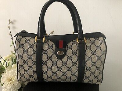 Vintage GUCCI Women's Accessory Collection Navy Canvas Coated Bag Made Italy