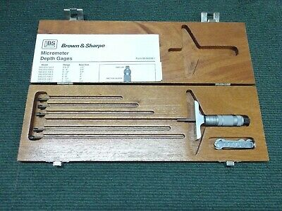 Brown Sharpe Micrometer Depth Gauge Set - Mint In Wooden Box - Appears Unused