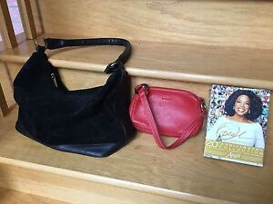Leather Roots Purse and Suede& Leather Handbag