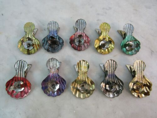 """Rare ANTIQUE 10 PC Christmas FEATHER Tree GERMAN Tiny Clips 1.5"""" Ornaments"""