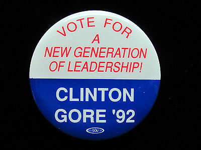"""1992 Bill Clinton for President 1 3/4"""" Pinback Button Vote for a New Generation"""