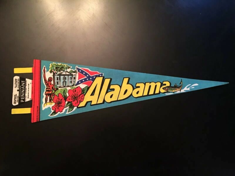 Vintage State of Alabama Pennant With Monuments New Old Stock Large 27 Inch
