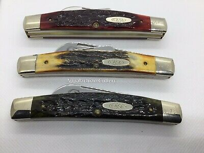 Case XX Circle C Series Congress Set Stag Red Green Jigged Bone 1986 3 Knife