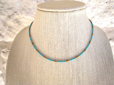 Turquoise Gold Tiny Seed Bead Beaded Choker Necklace Boho Style Bohemian
