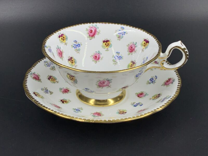Royal Chelsea Small Flower Buds 382A Tea Cup And Saucer Set Bone China England