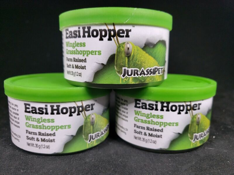 3 Cans Jurassipet Easi Hopper 35g 1.2 Oz Wingless Grasshopper Farm Raised