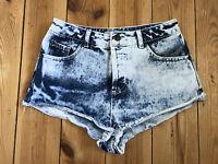 Topshop Ladies Distressed Blue Acid Wash Denim Hotpants / Shorts W25 - topshop - ebay.co.uk