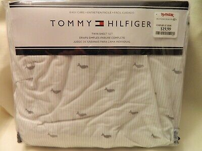 NEW IN PACKAGE SET OF TOMMY HILFIGER TWIN STRIPED SHEETS WITH WHALES - GRAY