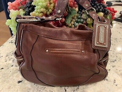 B MAKOWSKY Gorgeous Brown Leather w/Silver Accents Shoulder Purse