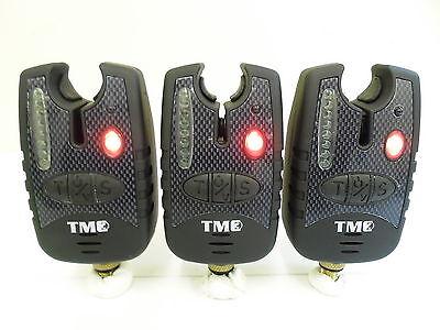 3 x Carp Bite Alarms - Red Running LED's, Dropbacks, 2.5mm Jacks, Latching LED