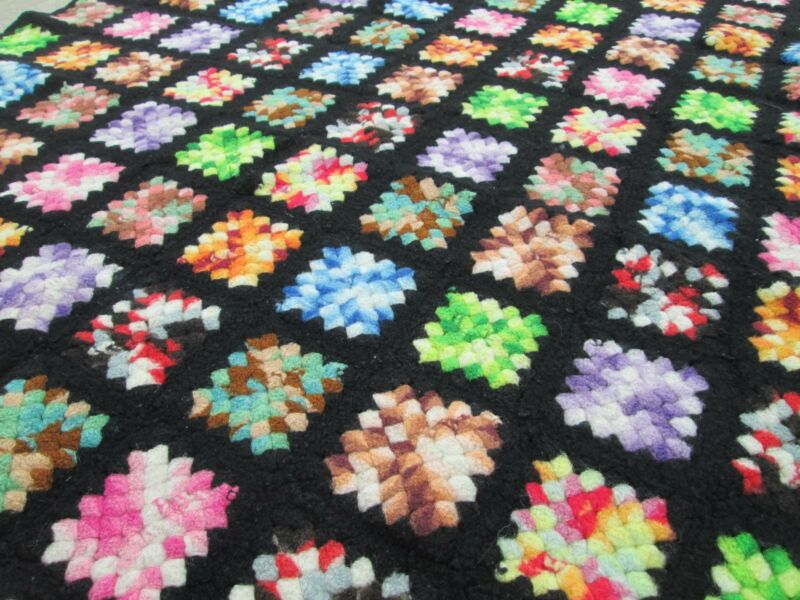 "Vintage 37""x46"" Black Border Multi Colored Granny Squares Crochet Afghan Throw"