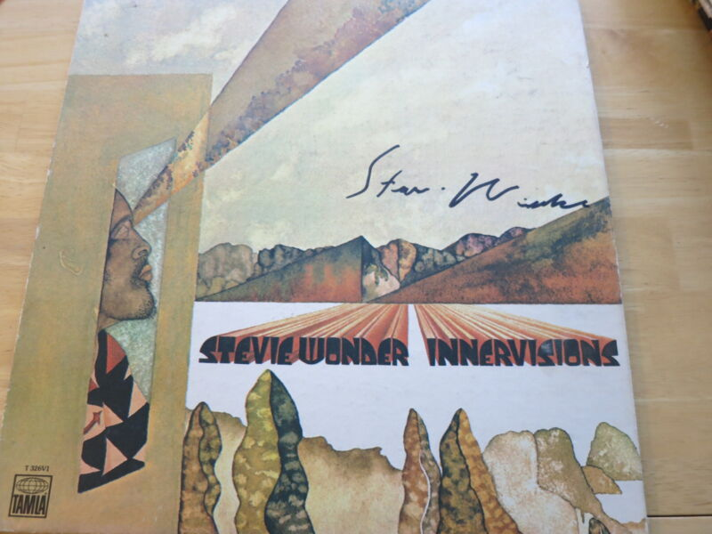 STEVIE WONDER SIGNED INNERVISIONS LP EXACT PROOF! COA RARE AUTOGRAPHED