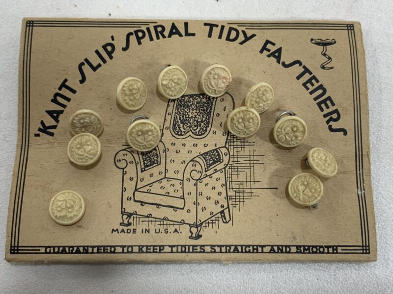 12 Twist Upholstery Pin TACK Doily Floral Buttons Keep in place - RARE NEW NOS