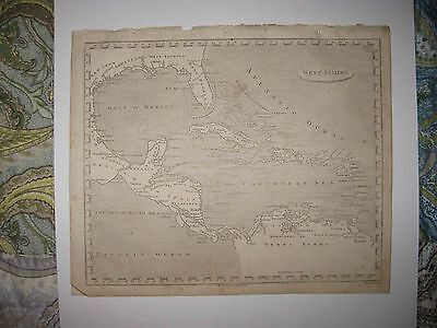 ANTIQUE 1805 WEST INDIES COPPERPLATE MAP FLORIDA TERRA FIRMA JAMAICA BAHAMAS NR