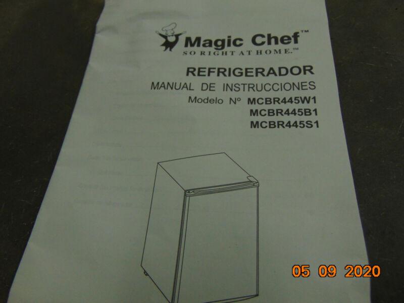 Magic Chef cooler refrigerator owners instruction manual MCBR445W1 MCBR445B1 S1