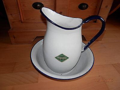 Fuldensia Set: Email Schüssel + Wasserkanne Wasserkrug, alt, Vintage  Weiss