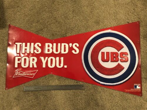Rare 2015 CHICAGO CUBS Budweiser Beer Advertising Tin Sign Man Cave Anheuser