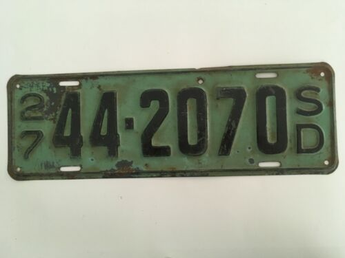 1927 South Dakota License Plate 100% All Original Paint