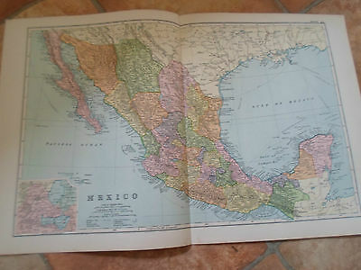 Old Map MEXICO From Bacon's Popular Atlas Of The World - 1907 (No 41)