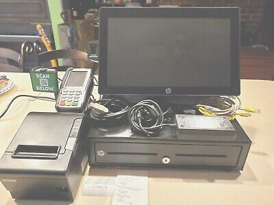 Hp Rp9 G1 Retail Pos Station Complete W Cash Drawer Scanner Printer Awesome