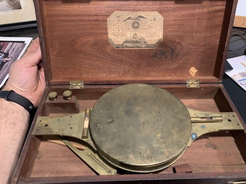 Richard Patten Compass Antique Brass Surveyor's Compass
