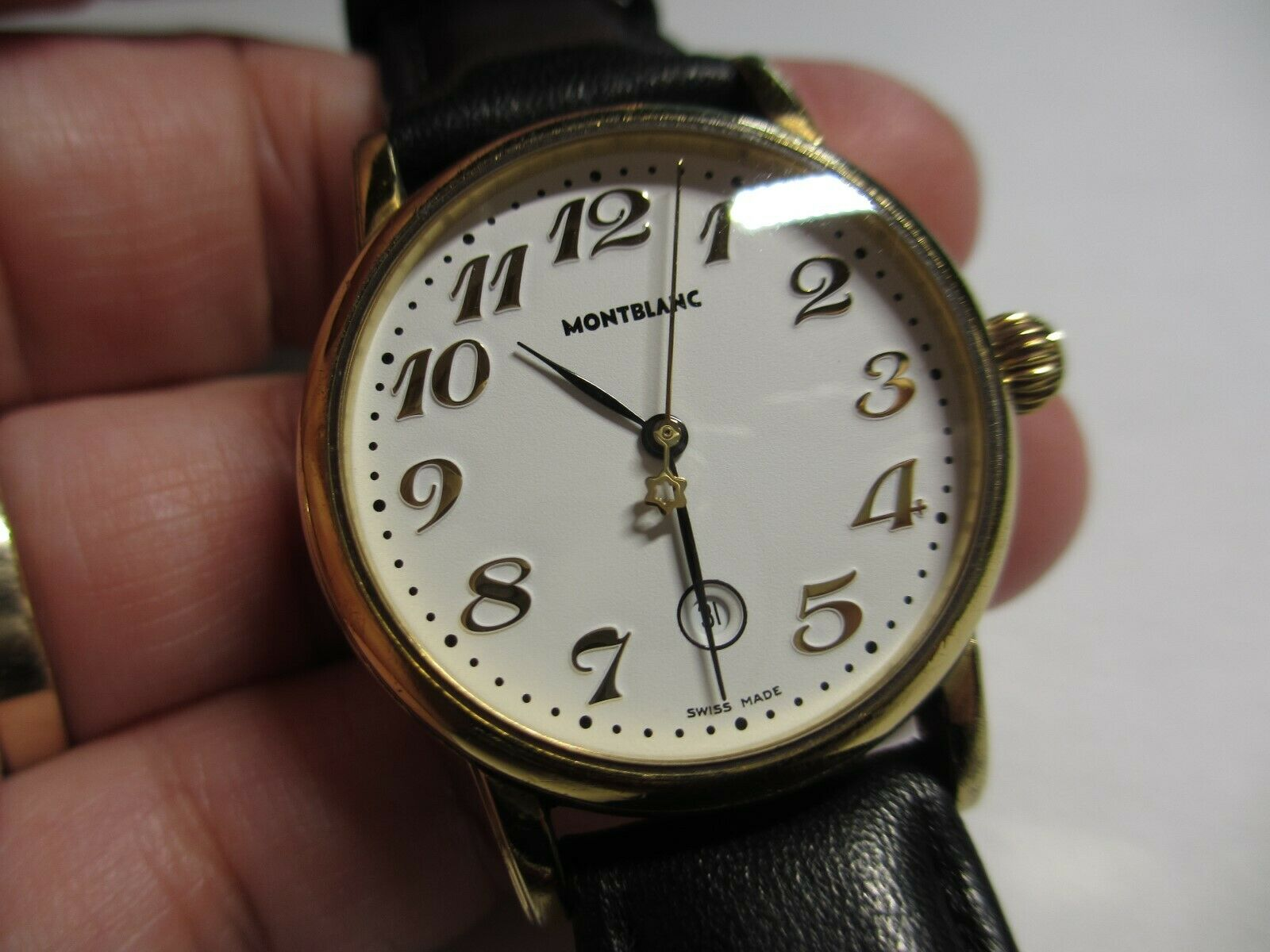 XFINE 32mm AUTH MONTBLANC MEISTERSTUCK 7005 STAINLESS STEEL GOLDTONE WRISTWATCH