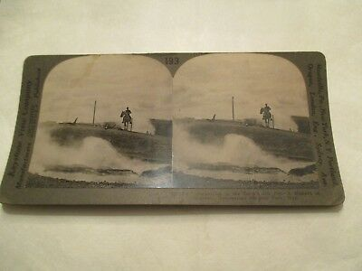 Devils Ink Pot Eruption Yellowstone National Park Man Horse Stereoview Card
