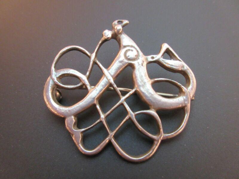 Neat David Andersen Sterling Silver Viking Snake Pin Brooch 10.1g