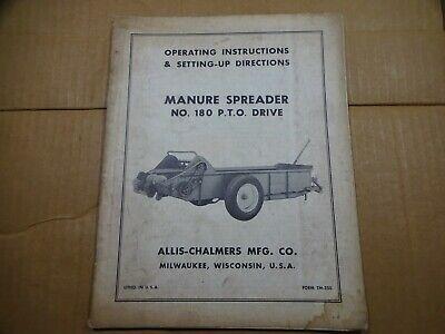 Allis Chalmers 180 Manure Spreader Pto Drive Operators Manual
