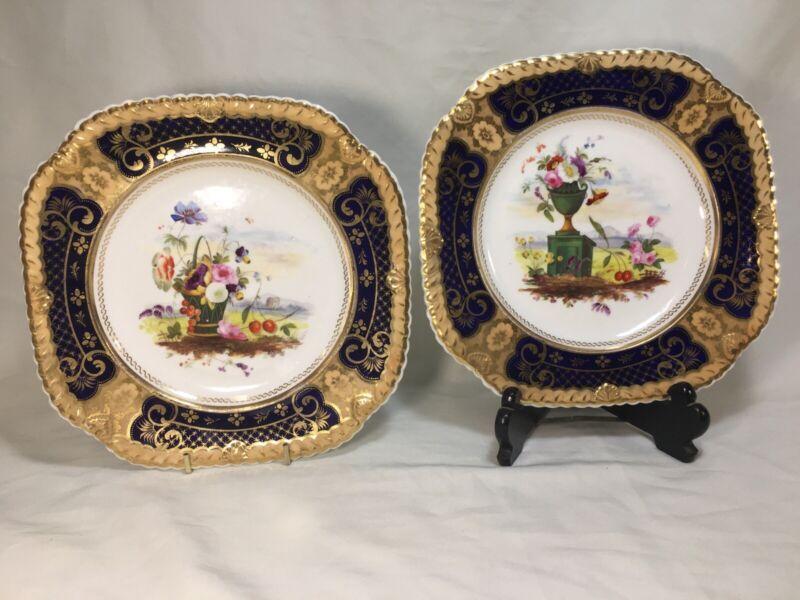 Pair English(?) Square Cobalt/Gold Floral Urn & Basket Bouquet 8.75 Inch PLATES
