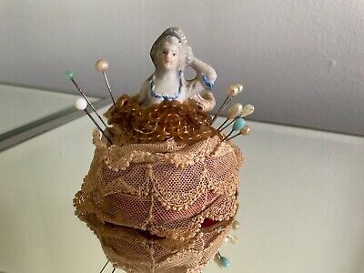 Antique Porcelain Half Doll Pin Cushion with old pins