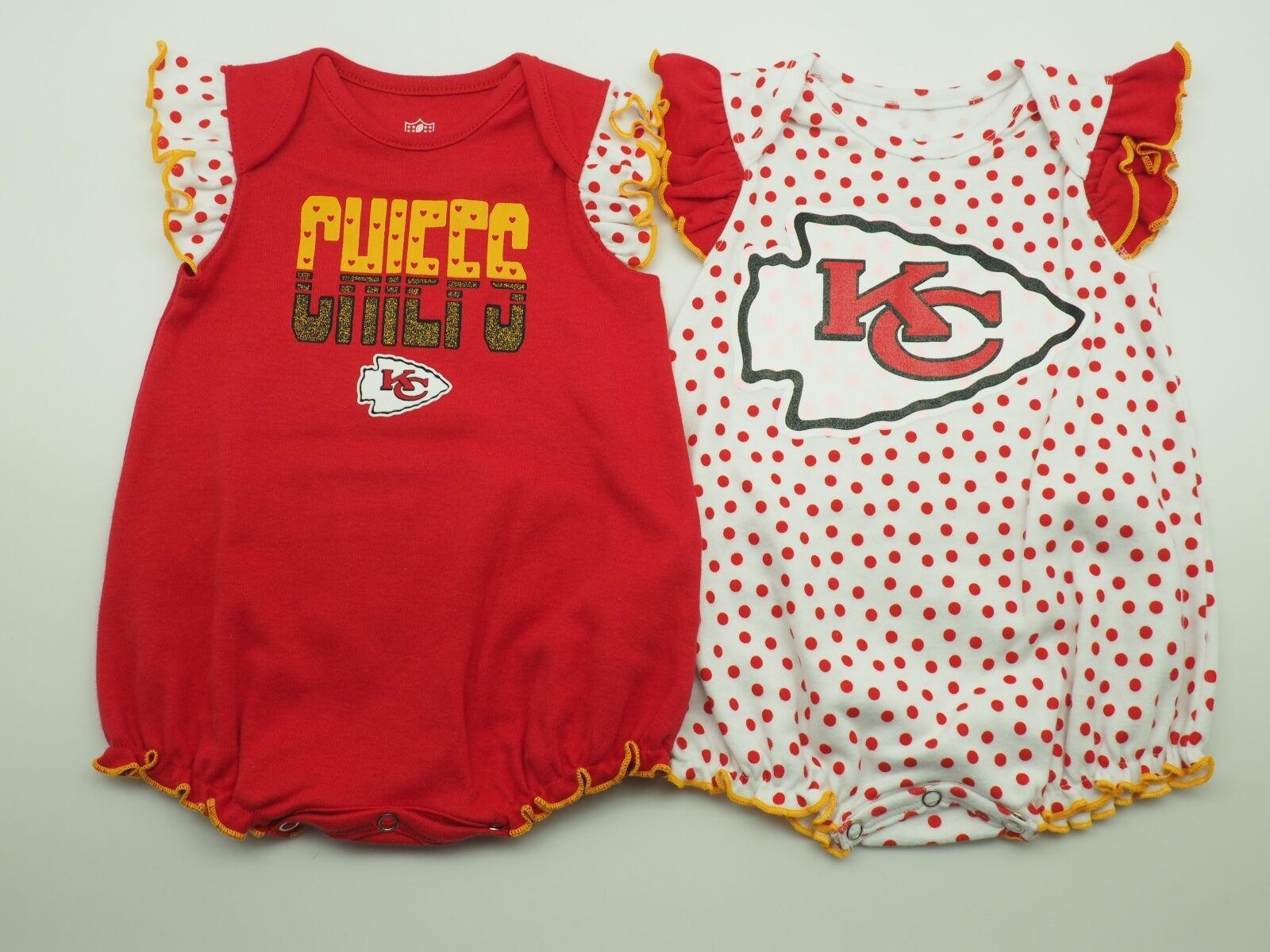 separation shoes 3ac5c e9480 Details about NFL Kansas City Chiefs Merchandise Infant Girls 2 Piece  Creeper Bodysuit NEW