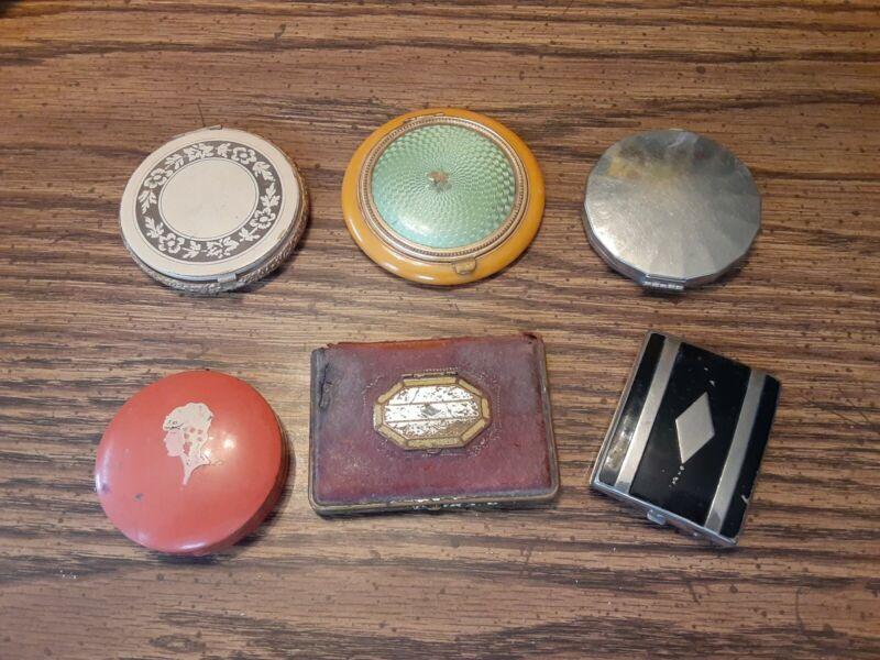 Vintage Ladies Compacts Mondaine NY. Celma Co. Loospact Yandley Volupte